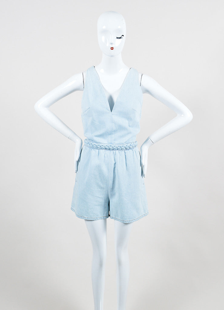 Light Blue Valentino Denim V-Neck Braided Trim Sleeveless Romper Frontview