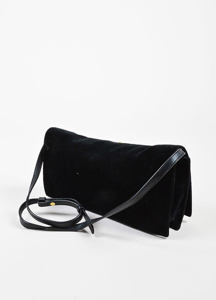 "Yves Saint Laurent Black and Multicolor Velvet Bejeweled Cross ""Byzance"" Clutch Bag Sideview"