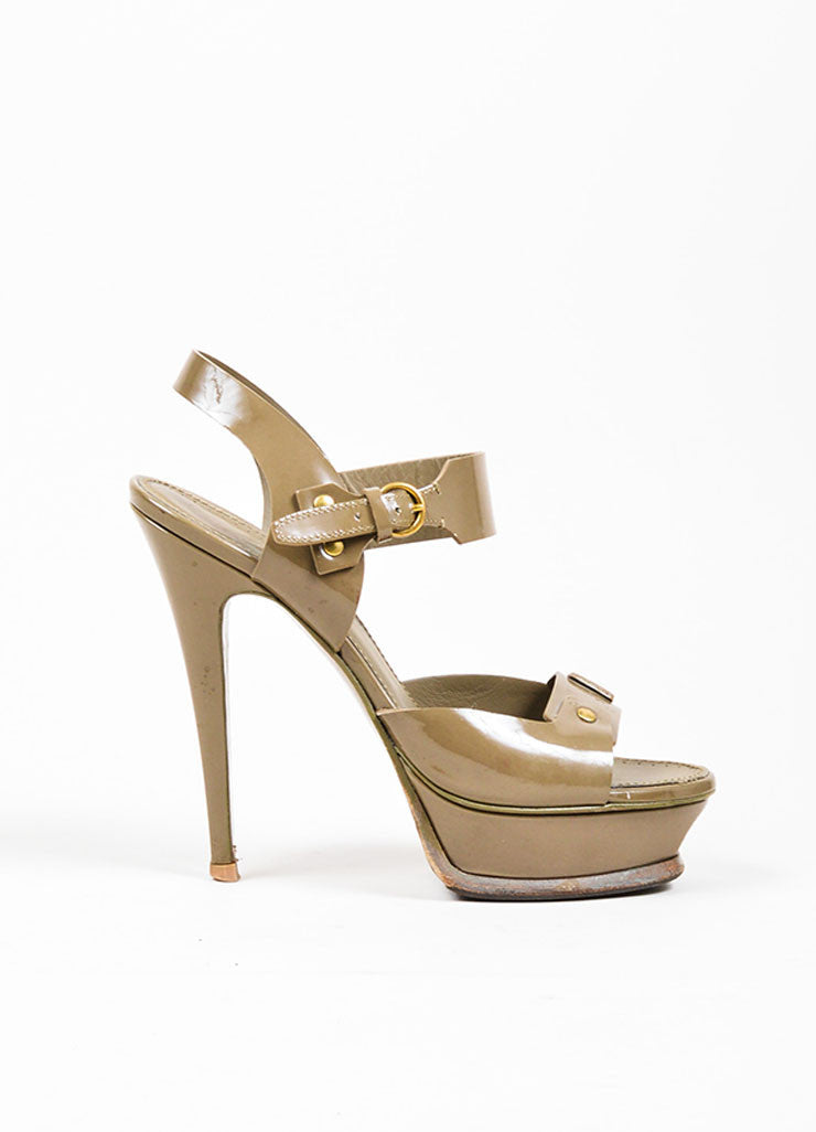 "Taupe Yves Saint Laurent Patent Leather Stud ""Tribute"" Sandals Sideview"