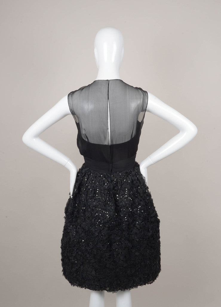 Black Sequin and Ribbon Trim Sleeveless Cocktail Dress