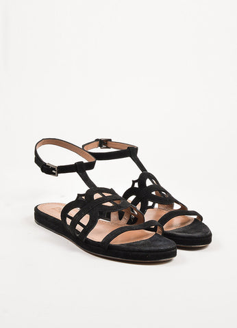 Alaia Black Suede Cut Out Ankle Strap Flat Slide Sandals Frontview