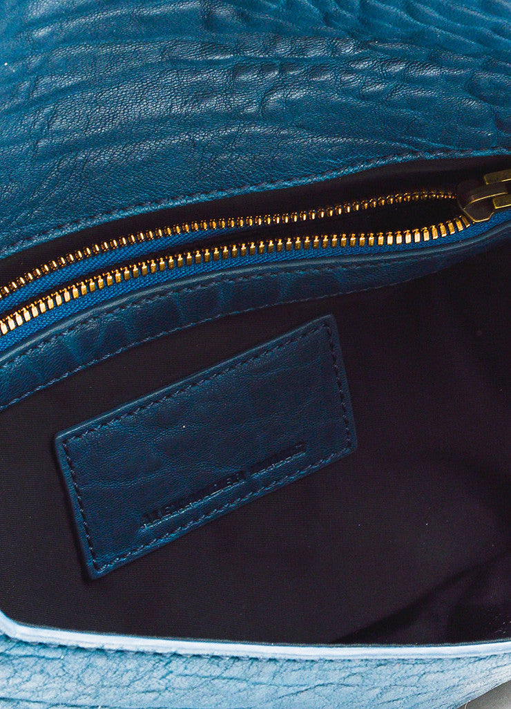 Dark Teal Blue Alexander Wang Pebble Leather Zip Foldover Clutch Bag Interior