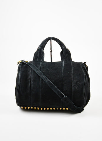"å´?ÌÜAlexander Wang Black Ribbed Suede Gold Toned ""Rocco"" Studded Satchel Bag Frontview"