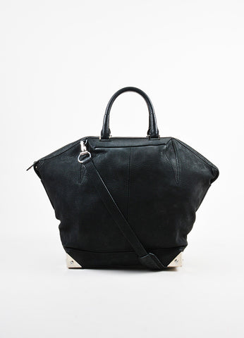 "Alexander Wang Black and Silver Toned Nubuck Leather Metal ""Large Emile"" Satchel Bag Frontview"