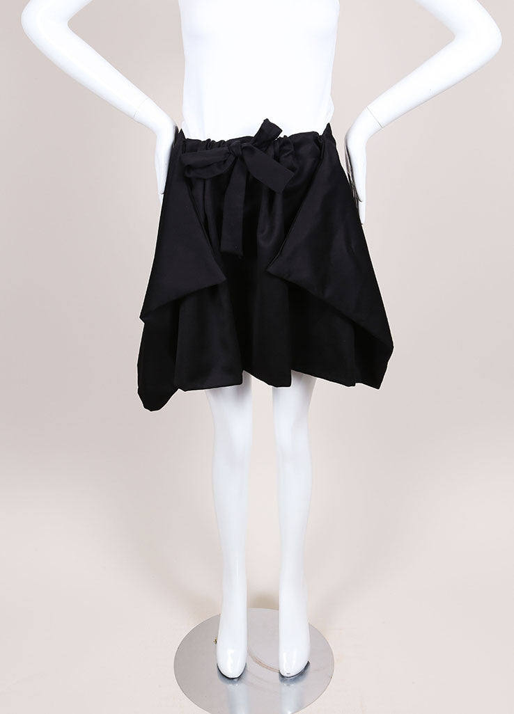Alexis Mabille Black Knit Draped Drawstring Skirt Frontview