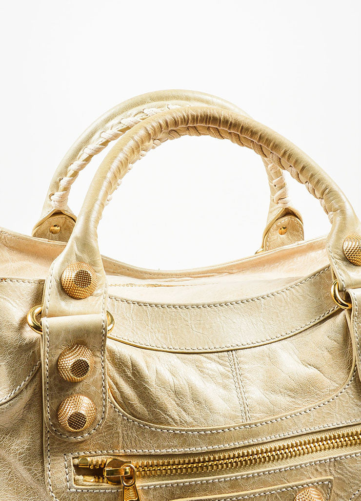 "Beige Gold Toned Stud Balenciaga ""Motocross Giant Brief"" Oversized Purse Bag Detail 2"