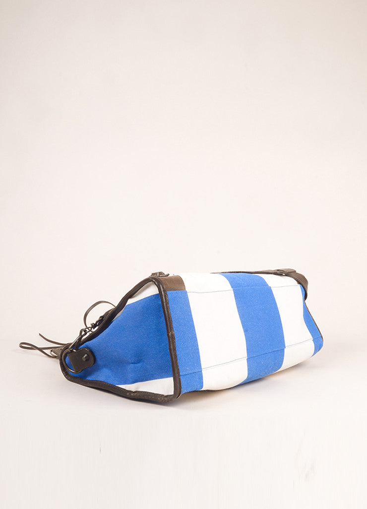 "Balenciaga Blue, White, and Brown Canvas and Leather Stripe ""City"" Bag Bottom View"