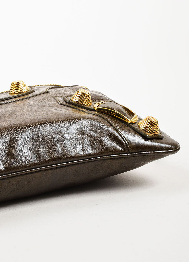 "Balenciaga Olive Green Leather Gold Toned Metal ""Giant 21 Wristlet Clutch"" Pouch Bag Bottom View"