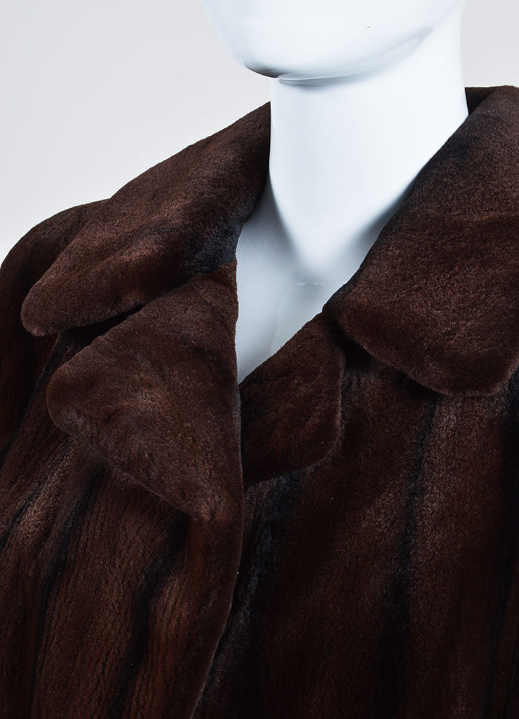 Brown and Black Bisang Fur Notch Lapel Coat Detail