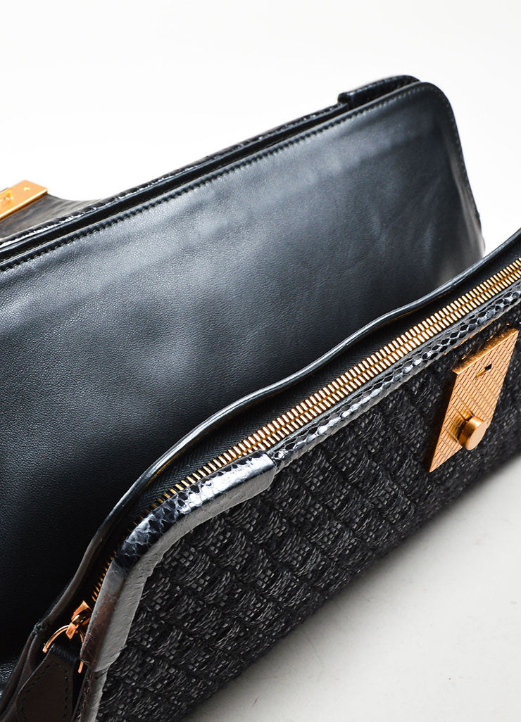 "Black Wool, Raffia, and Snakeskin Bottega Veneta Woven ""Ayers Livera"" Clutch Interior"