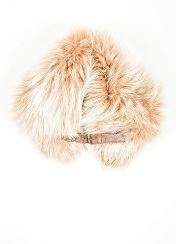 Tan and Brown Brunello Cucinelli Fox Fur Collar Frontview