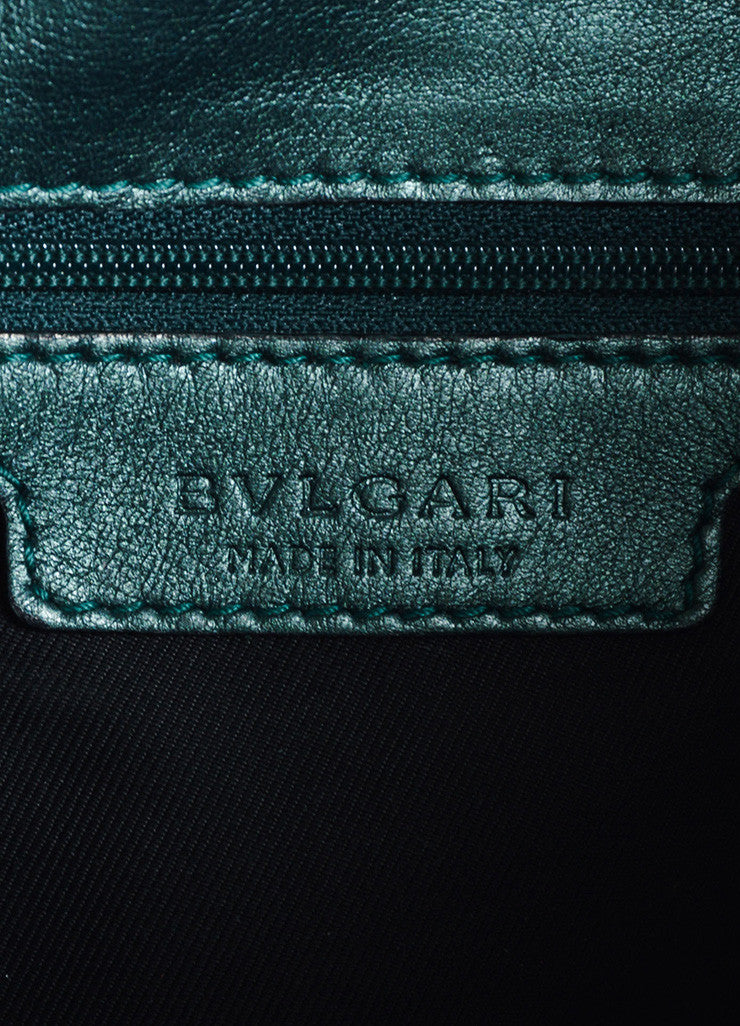"Bulgari Green Patent Leather Ombre Textured Laser Cut ""Leoni"" Shoulder Bag Brand"