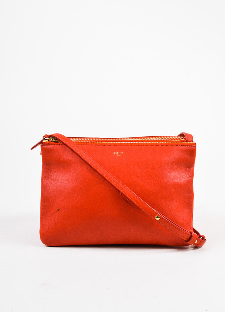 "Celine Red Lambskin Leather ""Trio"" Crossbody Bag Frontview"