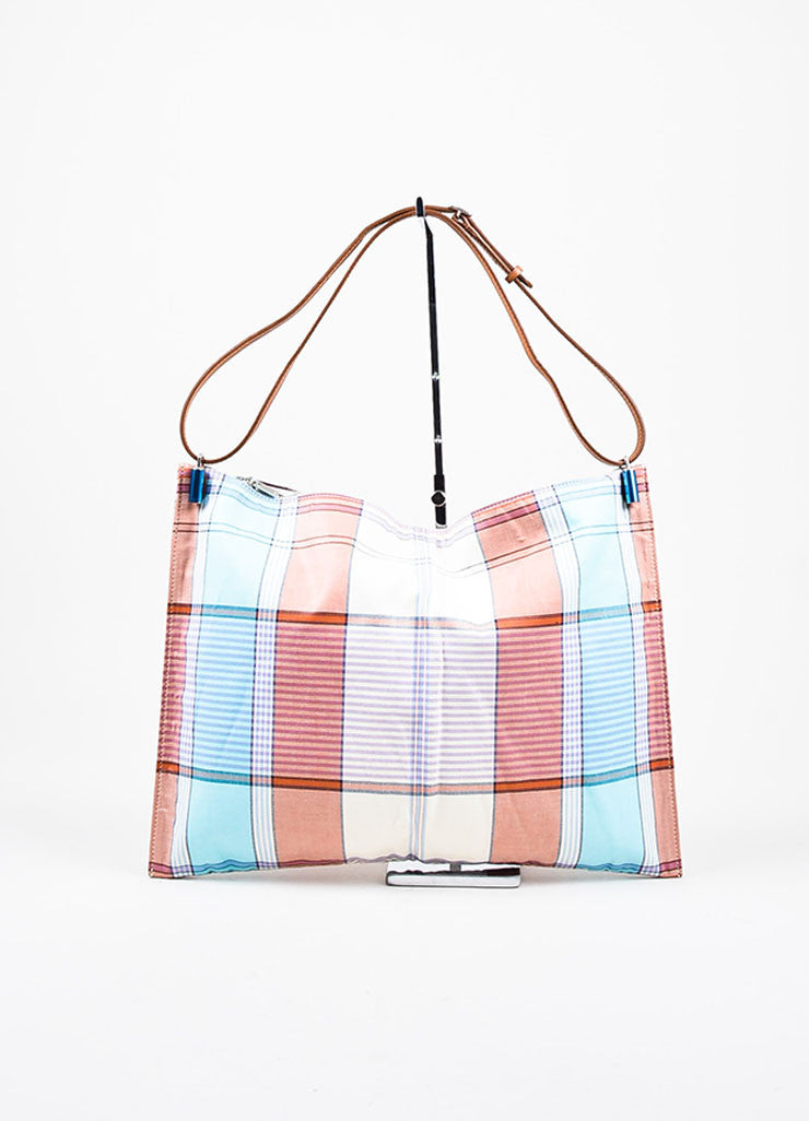 "Celine Multicolor and Brown Canvas and Leather Plaid ""Fortune Cookie"" Bag Frontview"