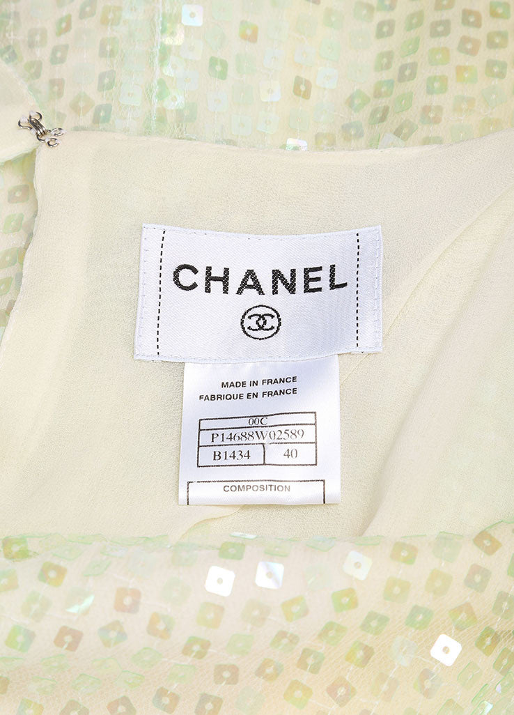 Chanel Green and Yellow Silk Sequin Embellished Shawl Detail Dress Brand