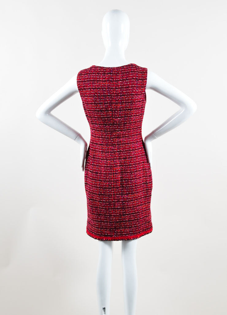 Chanel Red Tweed Knit Zip Front Sleeveless Shift Dress Back