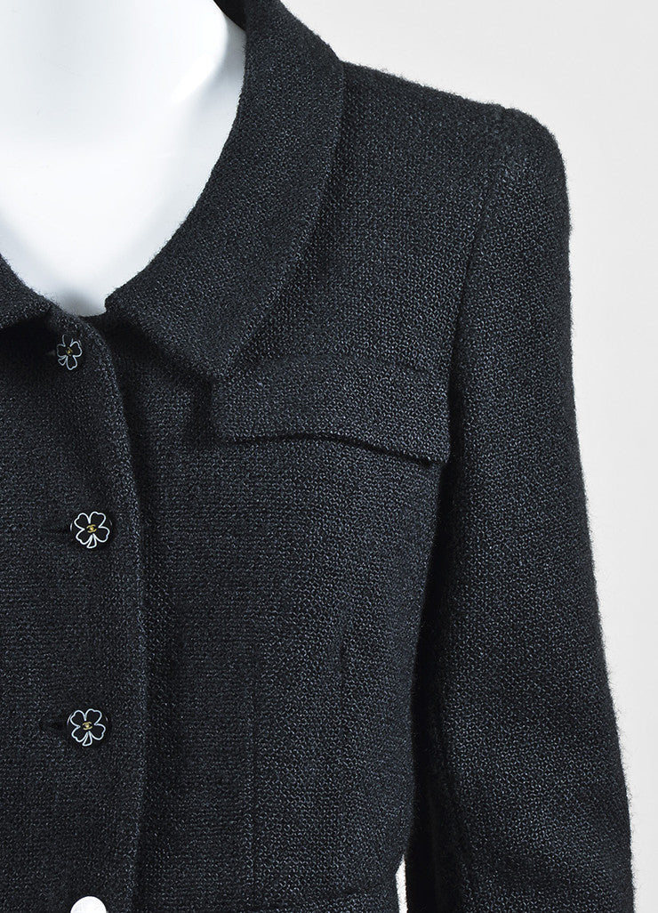 Chanel Black Textured Silk Knit Six Button Jacket Detail