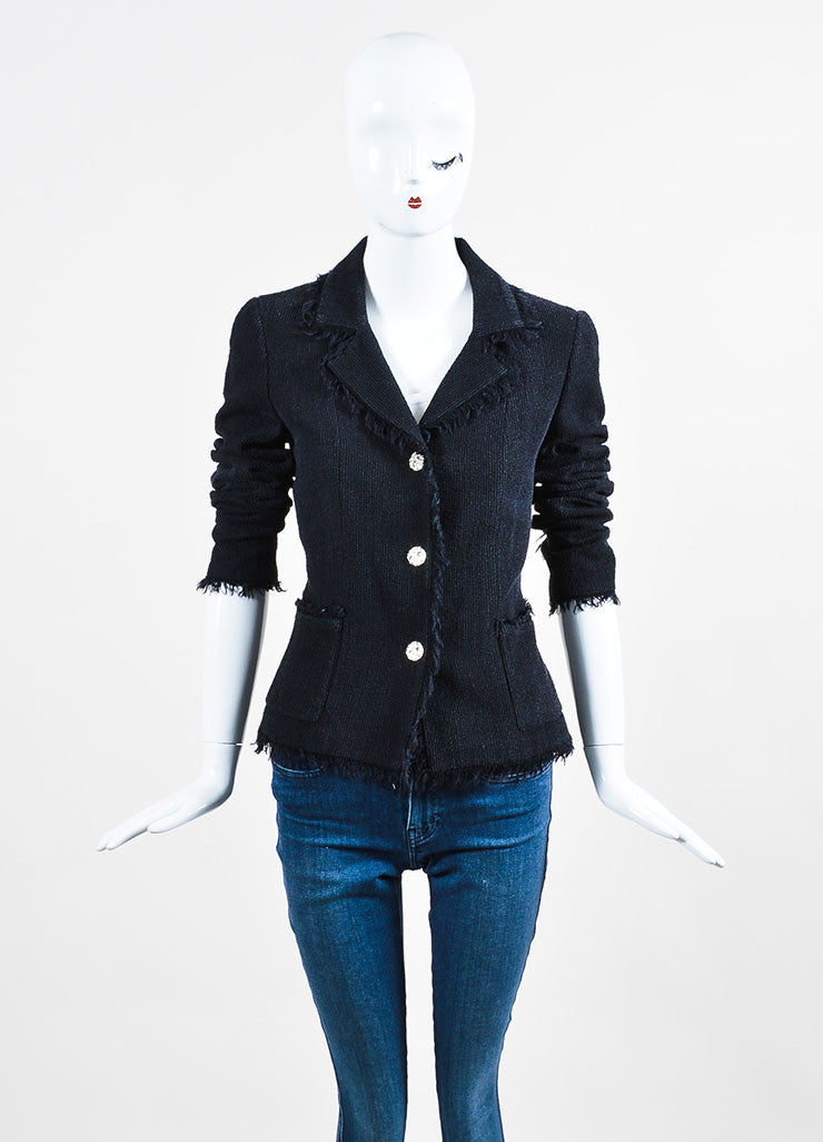 Black Chanel Wool and Silk Ribbed Texture 'CC' Button Fringe Jacket Frontview 2