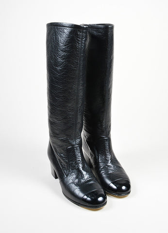 Black Chanel Leather Patent Cap Toe Knee High Boots Frontview