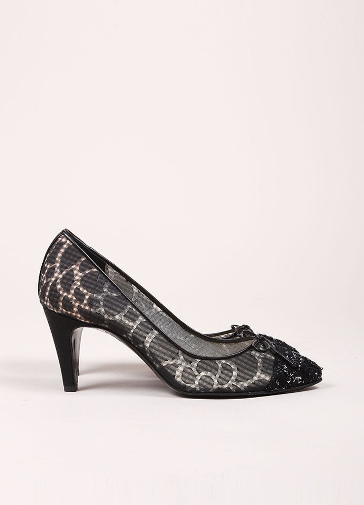 Chanel Black Semi-Sheer Gingham and Tweed Cap Toe Pumps Sideview