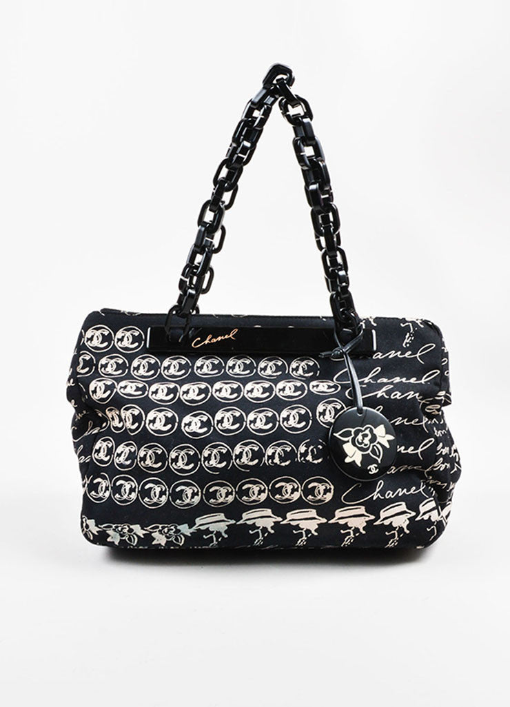 Black and Blush Chanel Canvas Script Printed Plastic Chain Strap Frame Shoulder Bag Frontview