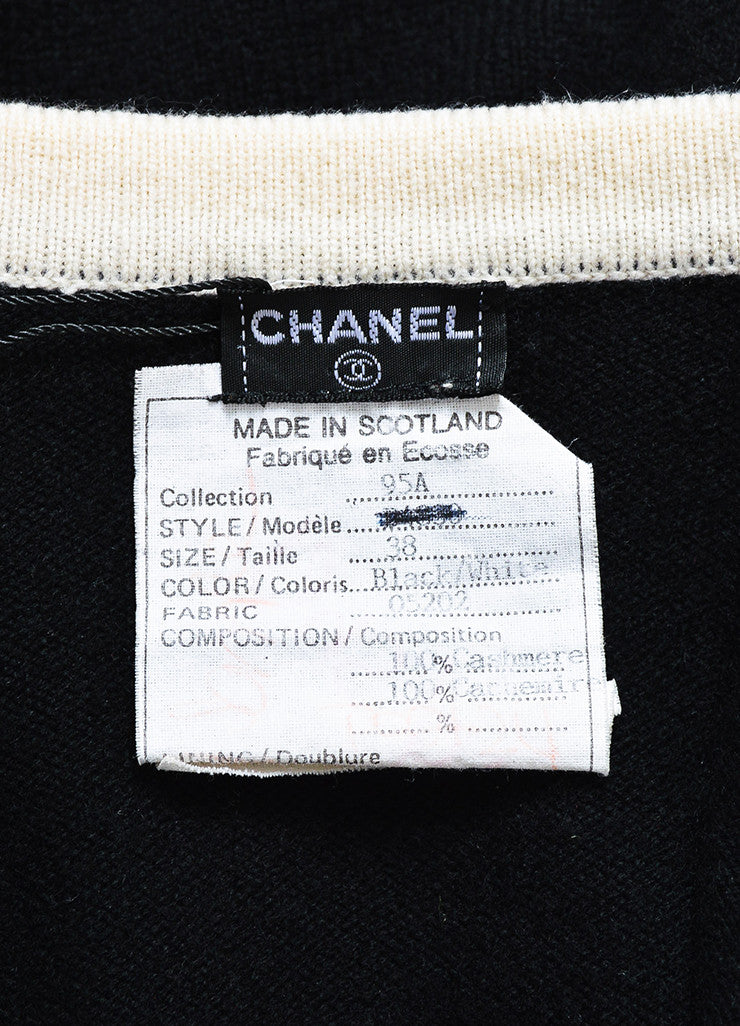 Chanel Black and Cream Cashmere 'CC' Button Cardigan Sweater Brand
