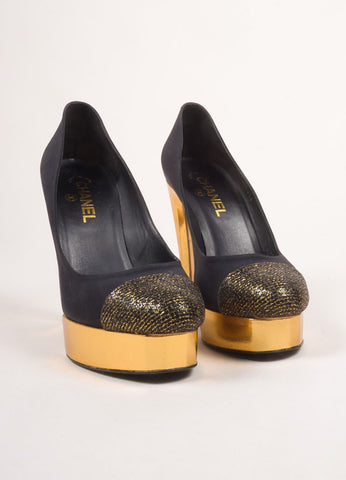 Chanel Black and Gold Toned Woven Metallic Glitter Cap Toe Platform Pumps Frontview