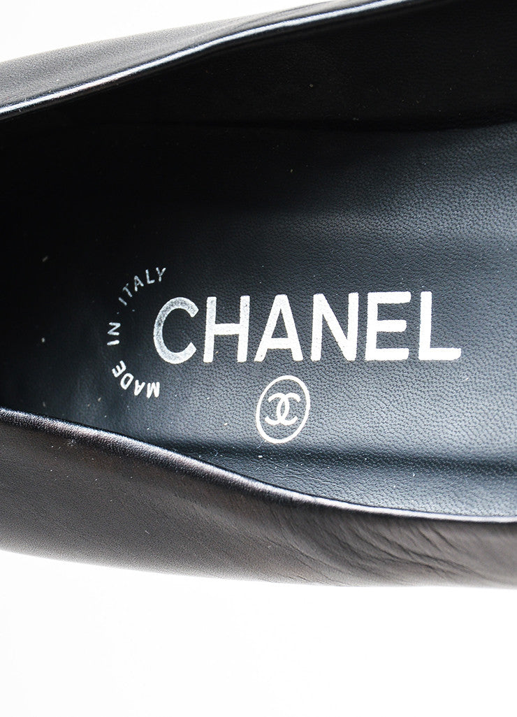 Black Leather Chanel Silver Toned Chain 'CC' Logo Flats Brand
