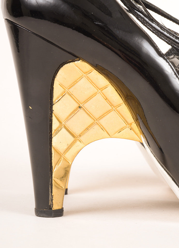 Chanel Black Metallic and Gold Leather Multi-Buckle Quilted Wedge Heels Detail
