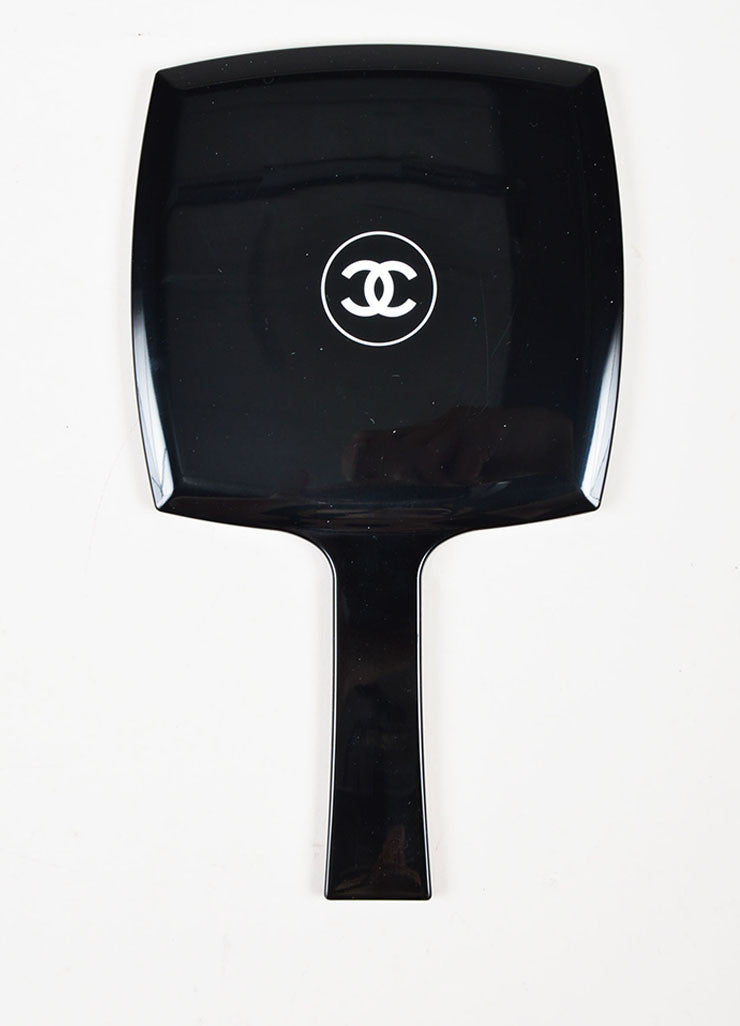 Black and White Chanel 'CC' Logo Hand Mirror Bottom View