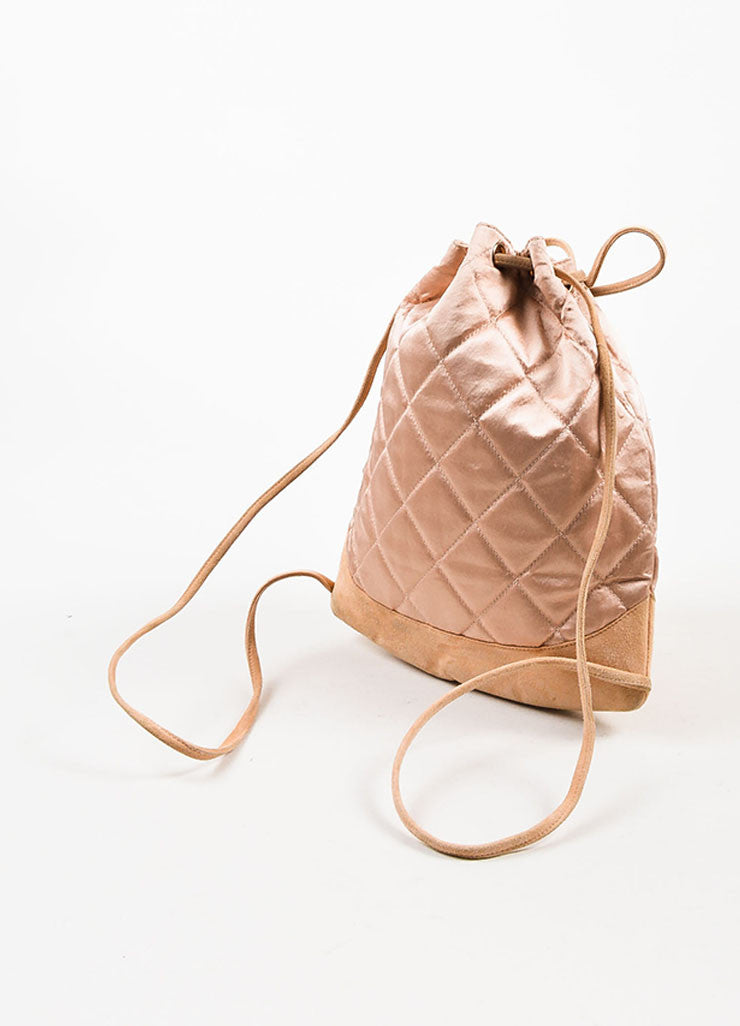 å´?ÌÜChanel Blush Pink Suede Satin Quilted Faux Pearl Drawstring Backpack Bag Bottom View