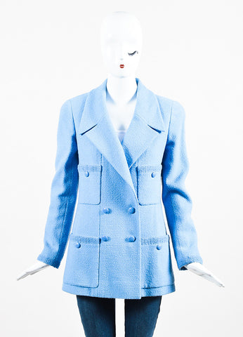 Chanel Baby Blue Wool Double Breasted Four Pocket Jacket Frontview 2