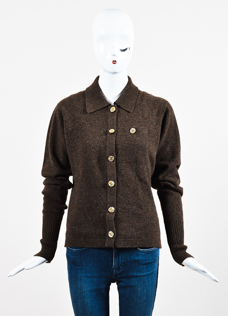 Chanel Brown Woven Knit Opaque 'CC' Button Sweater Cardigan Frontview