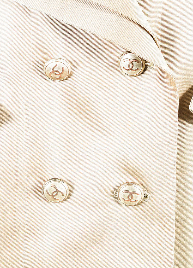 Chanel Golden Beige Gabardine Double Breasted 'CC' Button Trench Coat Detail