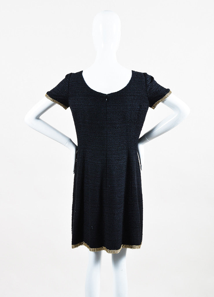 Chanel Navy Gold Toned Silk Tweed Chain Link Embellished Short Sleeve Shift Dress Backview