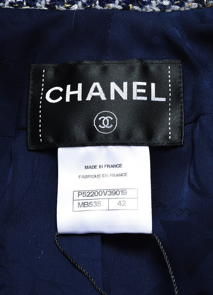Chanel Navy Wool Silver & Gold Metallic Trim Houndstooth Collared Coat brand