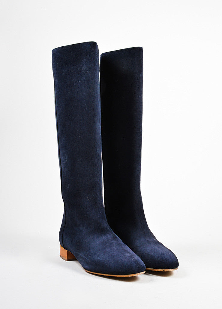 "Navy Blue, Tan, and Gold Toned Chloe Suede Leather ""Celtic Night"" Boots Frontview"