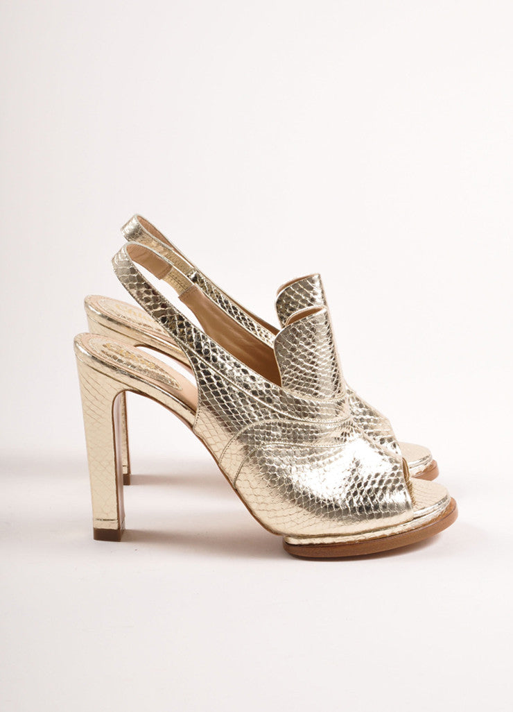Chloe Metallic Gold Snakeskin Embossed Leather Loafer Pumps Sideview