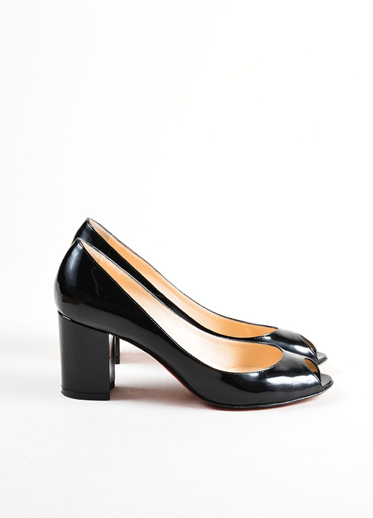 Black Christian Louboutin Patent Leather Peep Toe Pumps Sideview