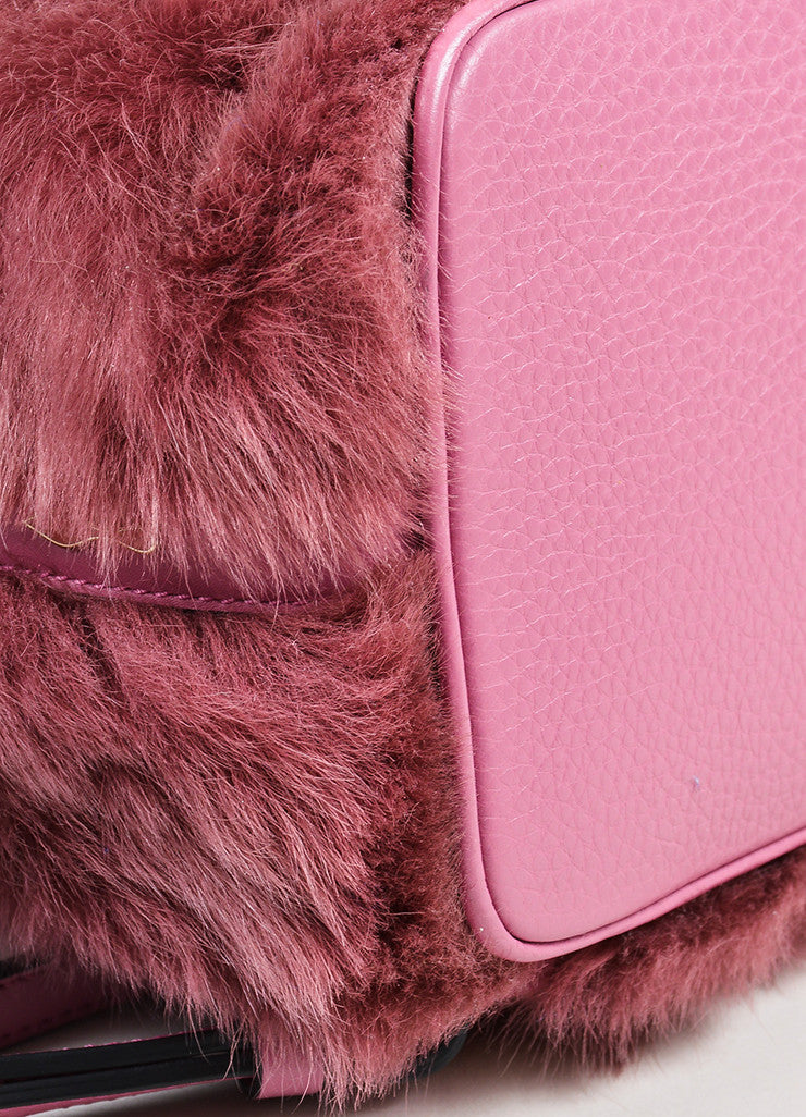 "Rose ‰ۢÌöÌÛChristian Louboutin Leather and Faux Fur ""Lucky L"" Bucket Backpack Detail"