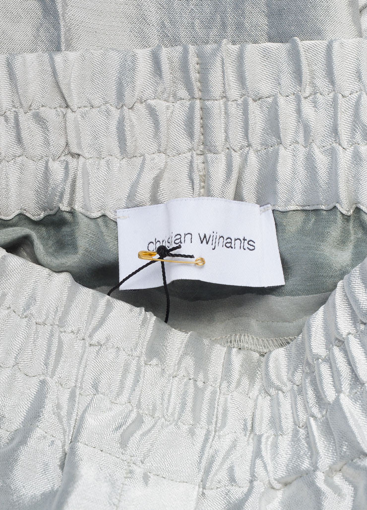 "Christian Wijnants New With Tags Silver Metallic Linen Blend ""Piet"" Pants Brand"