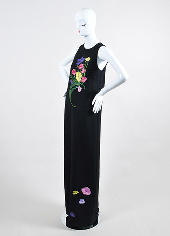 Black and Multicolor Christopher Kane Floral Embroidery Sleeveless Maxi Dress Sideview