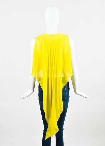Delpozo Yellow and White Silk Chiffon Cotton Eyelet Sleeveless Crop Top Backview