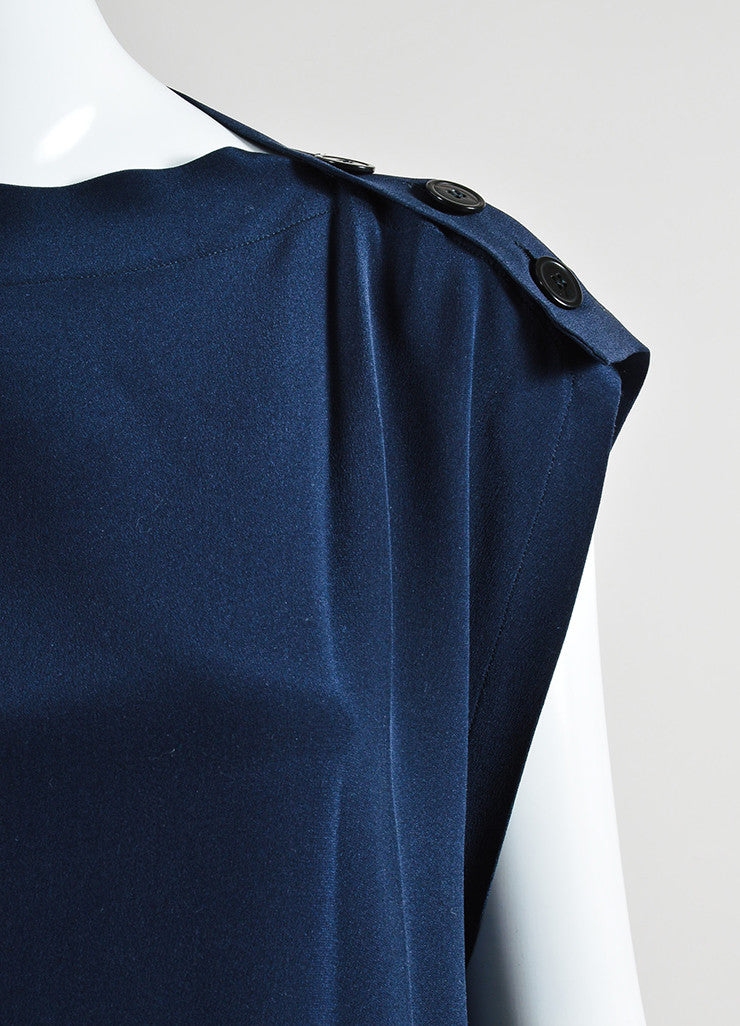 Navy Blue Derek Lam Silk Fringe Belted Button Shoulder Sleeveless Tunic Detail