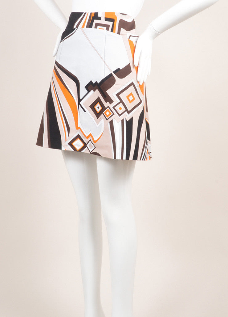 Emilio Pucci Orange, Black, and Multicolor Cotton Abstract Print Short Skirt Sideview