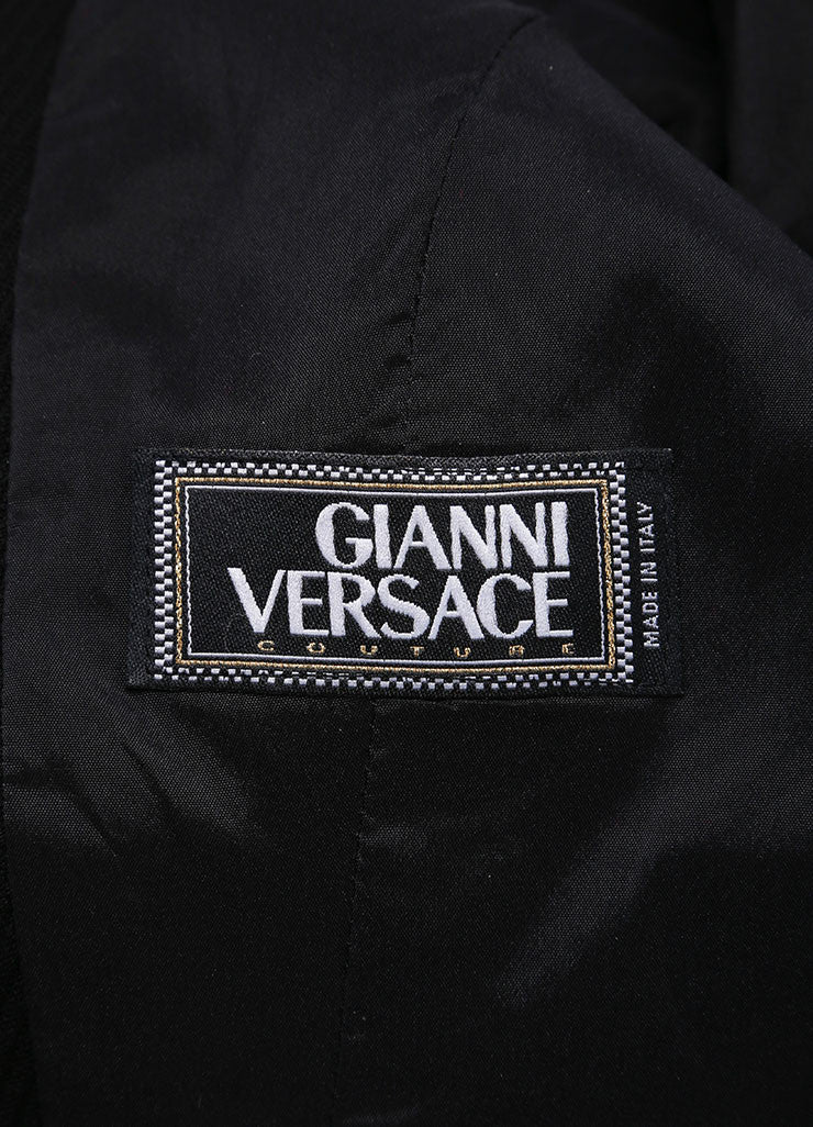 Gianni Versace Black Textured Hook and Eye Wool Blend Blazer Jacket Brand