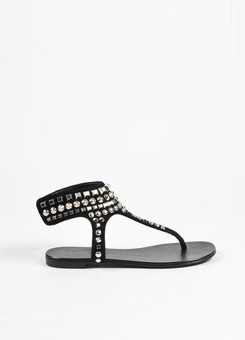 Giuseppe Zanotti Black and Silver Toned Suede Studded Thong Sandals Sideview