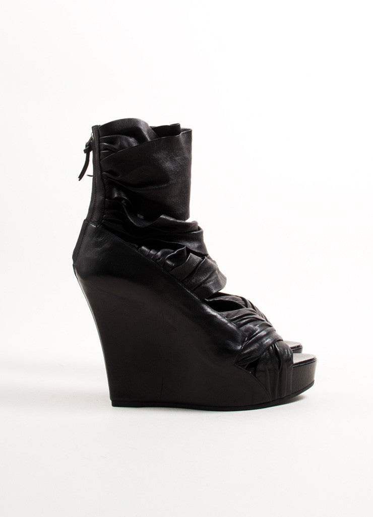 Givenchy Black Leather Ruched Wrap Strap Platform Wedge Sandals Sideview