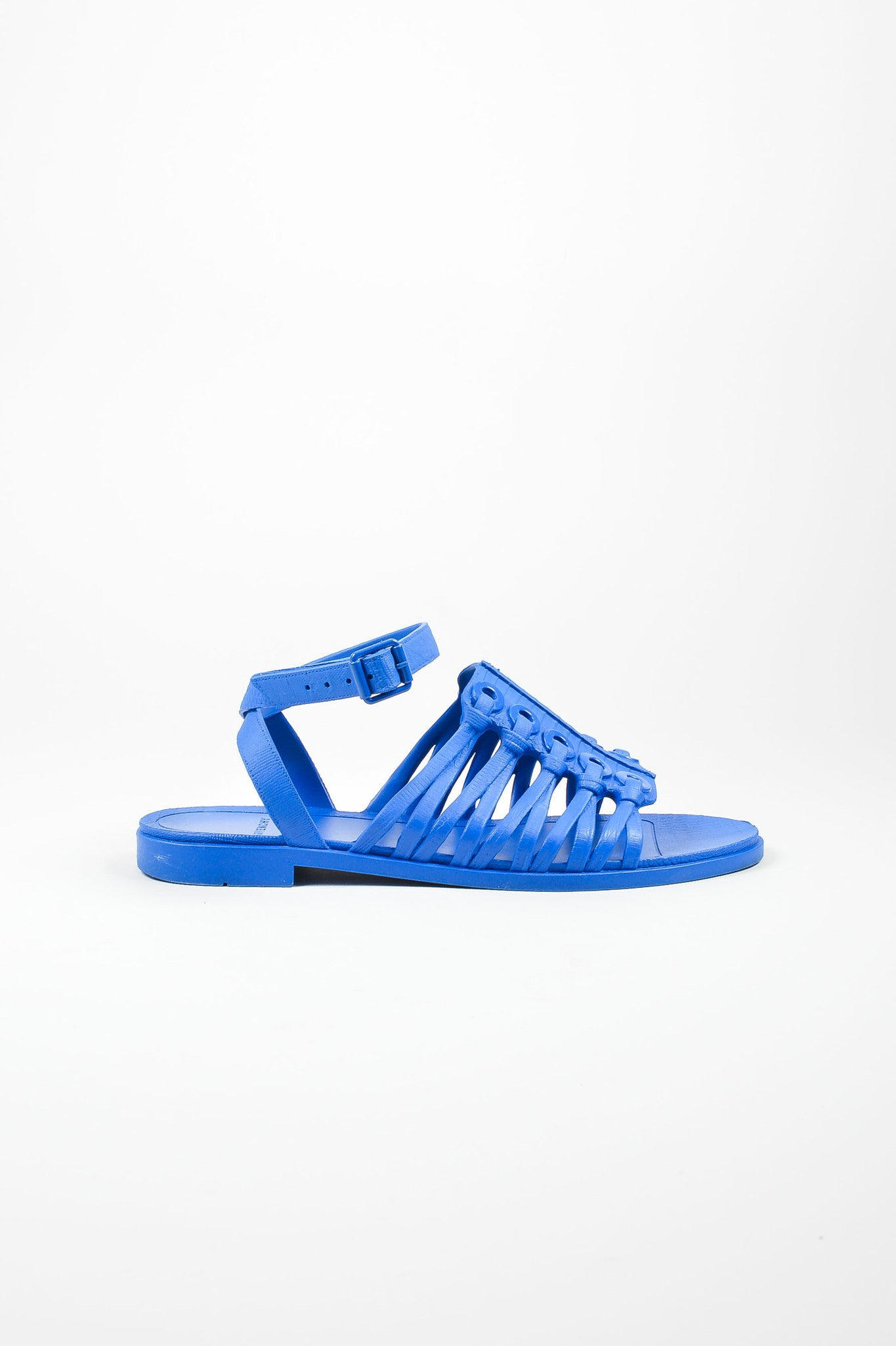 Blue Plastic Knot Molded Grommet Gladiator Ankle Wrap Sandals