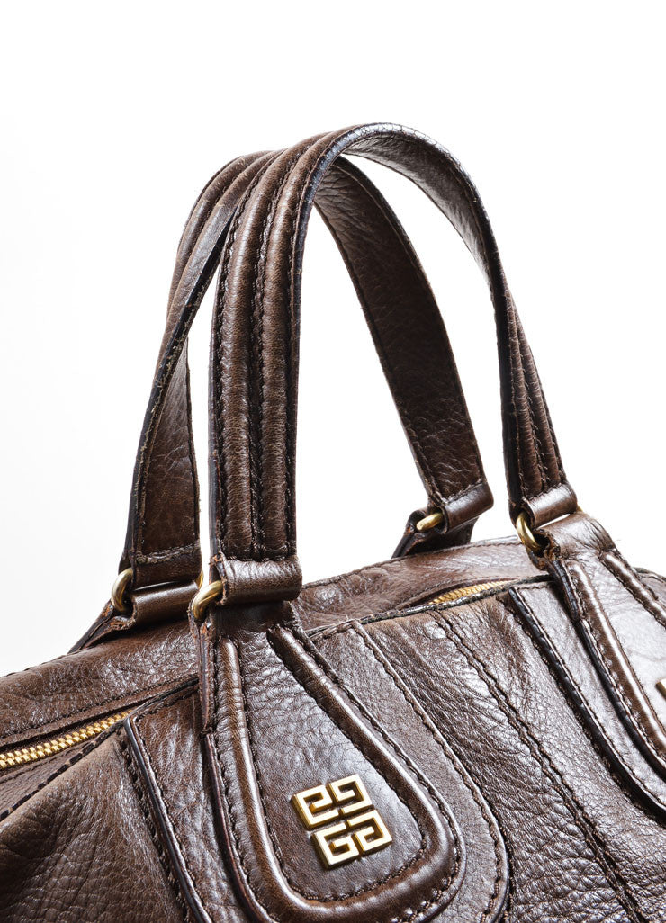 "Givenchy Dark Brown Leather Large ""Nightingale"" Satchel Bag Detail 2"